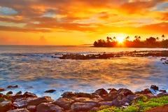 Tramonto hawaiano Immagini Stock Libere da Diritti
