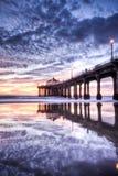 Tramonto HDR del pilastro del Manhattan Beach Fotografie Stock Libere da Diritti