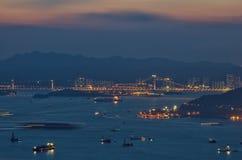 Tramonto a Hong Kong Fotografia Stock Libera da Diritti