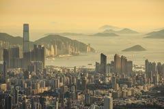 Tramonto a Hong Kong Fotografie Stock Libere da Diritti