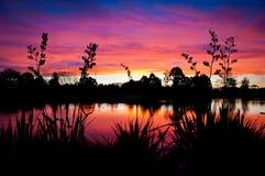 Tramonto III del lago Fotografie Stock Libere da Diritti