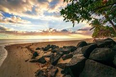 Tramonto impressionante all'isola delle Mauritius Immagine Stock