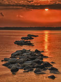 Tramonto indiano del fiume Fotografie Stock