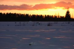 Tramonto in inverno orizzontale Immagini Stock