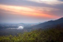 Tramonto Islamabad della moschea di Faisal fotografia stock