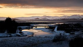 Tramonto in Islanda nell'inverno Fotografia Stock Libera da Diritti