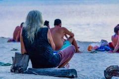 Tramonto Koh Phangan Thailand di Zen Beach immagine stock