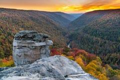 Tramonto a Lindy Point, Virginia Occidentale fotografia stock libera da diritti