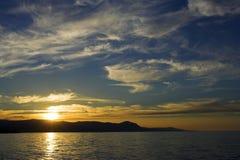 Tramonto litoraneo, Akamas peninsulare fotografie stock
