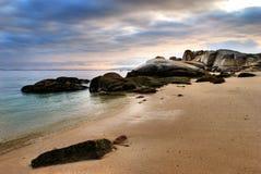 Tramonto litoraneo su Oceano Atlantico immagine stock libera da diritti