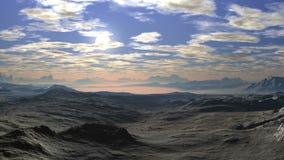 Tramonto luminoso sopra la valle della montagna stock footage