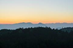Tramonto macedone della catena montuosa Fotografia Stock