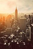 Tramonto a Manhattan Immagini Stock Libere da Diritti