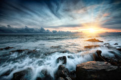 Tramonto in mare. Immagini Stock Libere da Diritti