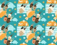 Tramonto in mare con gli uccelli, il pesce e la gente illustrazione di stock