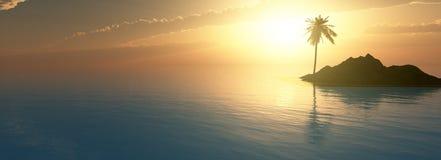 Tramonto in mare, isola con la palma Immagine Stock