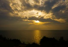 Tramonto in mare, pacifico e il beautifu Immagine Stock