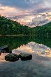 Tramonto, Martins Fork Lake, Kentucky Fotografia Stock