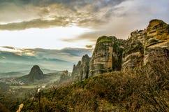 Tramonto a Meteora! Fotografie Stock Libere da Diritti