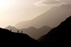 Tramonto in montagne Fotografie Stock Libere da Diritti
