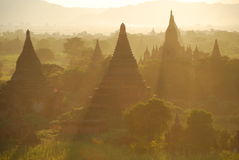 Tramonto Mystical in Bagan Fotografia Stock Libera da Diritti