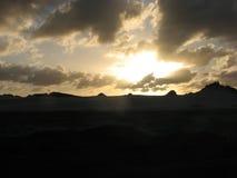 Tramonto Natale-Marina militare in costa, Brasile Fotografia Stock