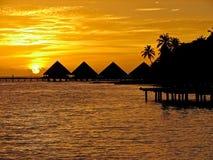 Tramonto nei Maldives. Fotografia Stock