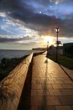 Tramonto nel canarino di Gran dal mare in un modo del percorso di camminata fotografia stock