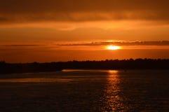 Tramonto nel delta di Danubio Fotografie Stock Libere da Diritti