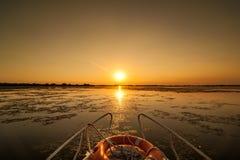 Tramonto nel delta Romania di Danubio Belle luci bluastre in acqua Bello paesaggio di tramonto dalla biosfera di delta di Danubio immagine stock libera da diritti