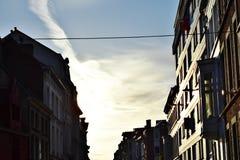 Tramonto nel gante Belgio Fotografia Stock Libera da Diritti