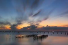 Tramonto nel lago Fotografie Stock