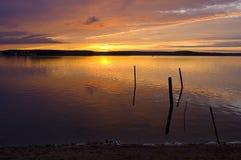 Tramonto nel lago Immagine Stock Libera da Diritti