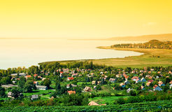 Tramonto nel lago Balaton Immagine Stock