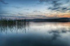 Tramonto nel lago Balaton Fotografie Stock Libere da Diritti
