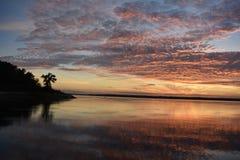 Tramonto nel lago Benbrook nel Texas fotografia stock libera da diritti