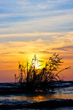 Tramonto nel lago del sud Tailandia. Fotografie Stock Libere da Diritti