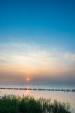 Tramonto nel lago Dianchi Fotografia Stock Libera da Diritti
