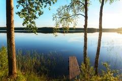 Tramonto nel lago Kenozero Immagine Stock Libera da Diritti