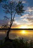 Tramonto nel lago Riedkine Fotografia Stock