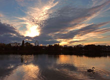 Tramonto nel lago Strkovec Immagini Stock Libere da Diritti