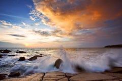 Tramonto nel mare Fotografie Stock Libere da Diritti