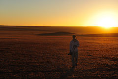 Tramonto nel Namib (Namibia) Fotografie Stock Libere da Diritti