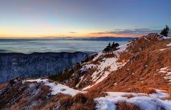 Tramonto nel paesaggio delle montagne di inverno con la foresta Fotografia Stock