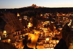 Tramonto nel panorama di Goreme.Cappadocia fotografia stock libera da diritti