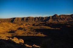 Tramonto nel parco nazionale Tenerife di EL Teide fotografia stock libera da diritti