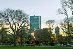 Tramonto nel parco pubblico comune di Boston a Boston del centro mA fotografia stock