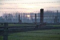 Tramonto nel precedente campo di sterminio, Auschwitz-Birkenau Immagini Stock Libere da Diritti