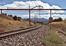Tramonto nel treno Fotografia Stock