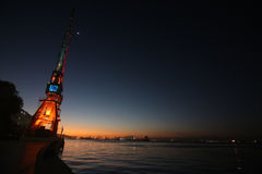 Tramonto nell'area di porto di Rio de Janeiro Fotografia Stock